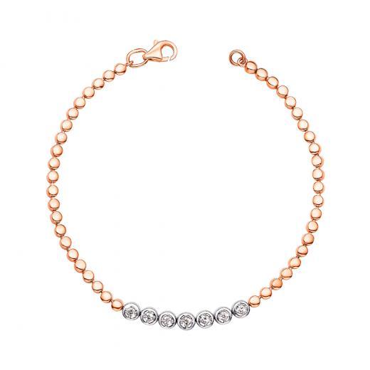 Браслет из комбинированного золота с бриллиантами Артикул 560025/14/1/8554