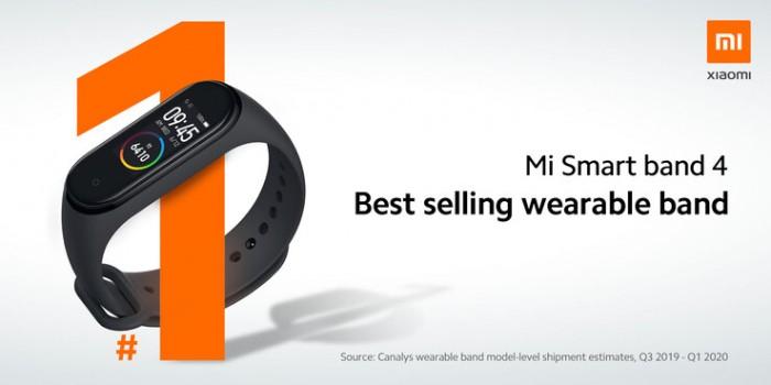 Mi Smart Band 4 Самый продаваемый носимый аппарат. (Источник изображения: @Xiaomi)